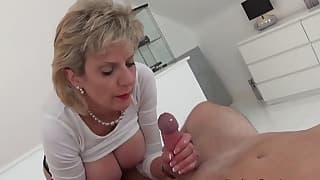Busty mom solo with a stunning babe