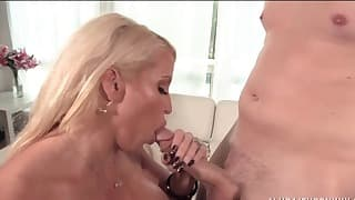 Lusty blonde mom knows how to suck a dick