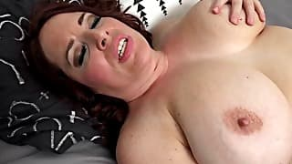 Huge boobs mom licks her nipples