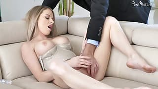Glamorous MILF plays with a nice big dick