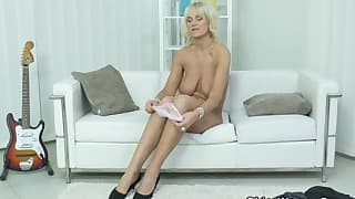 Hot mom blonde takes off her dress