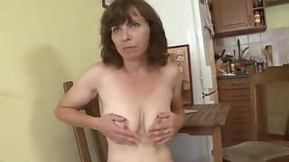 Russian mom porn solo in the kitchen
