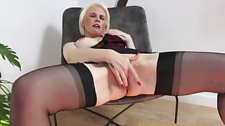 Seduced blonde mom opens her wet pussy