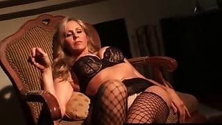 Cute MILF with big boobs shows her lingerie
