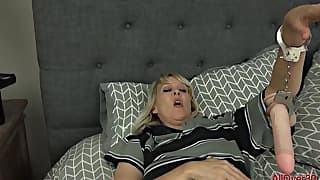 Playful blonde mom is enjoying his dick