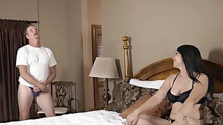 Sex with mom in the bedroom looks great