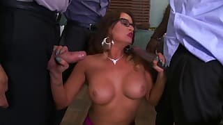 Good-looking busty brazzers mom blowbang