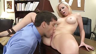 Seduced busty blonde sucks a nice dick